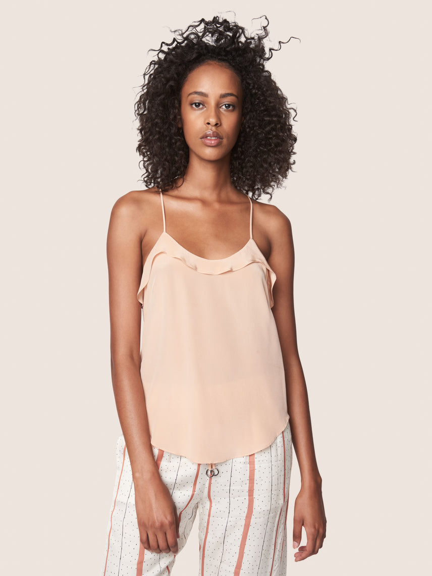 Silk crepe cami with scoop neckline and racerback