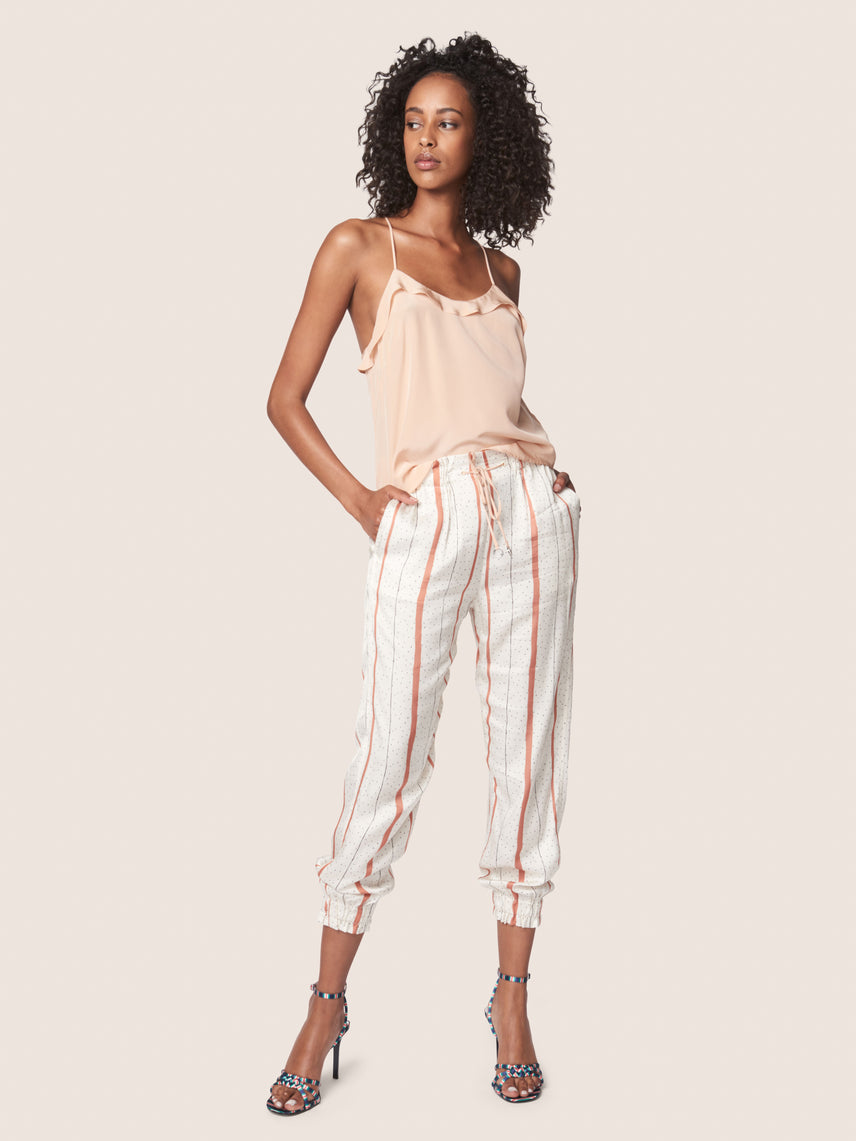 Track pant with shirred waist and pockets