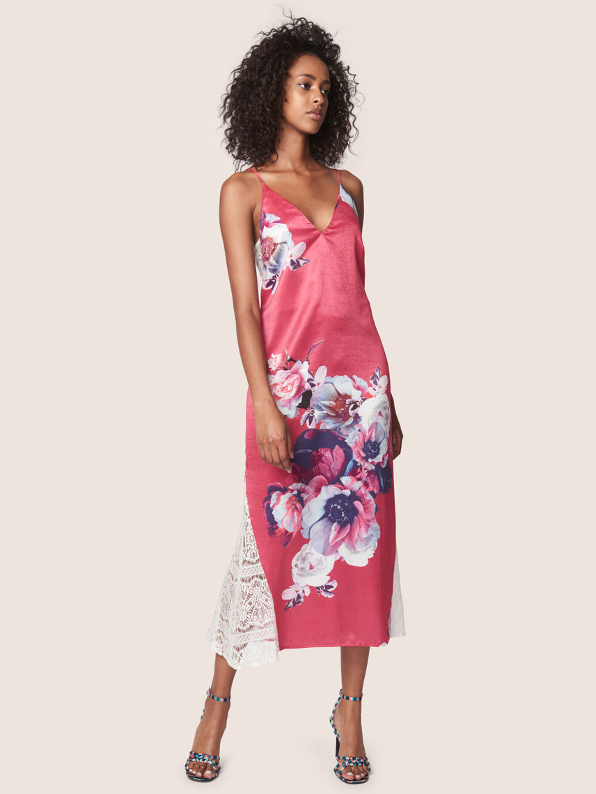 Satin floral print slip gown with lace inserts