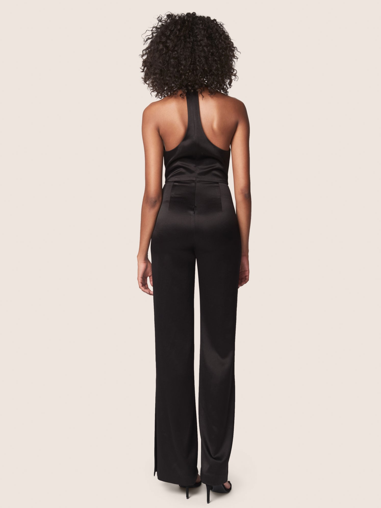 Black satin jumpsuit with deep v-neckline and racerback Alternate