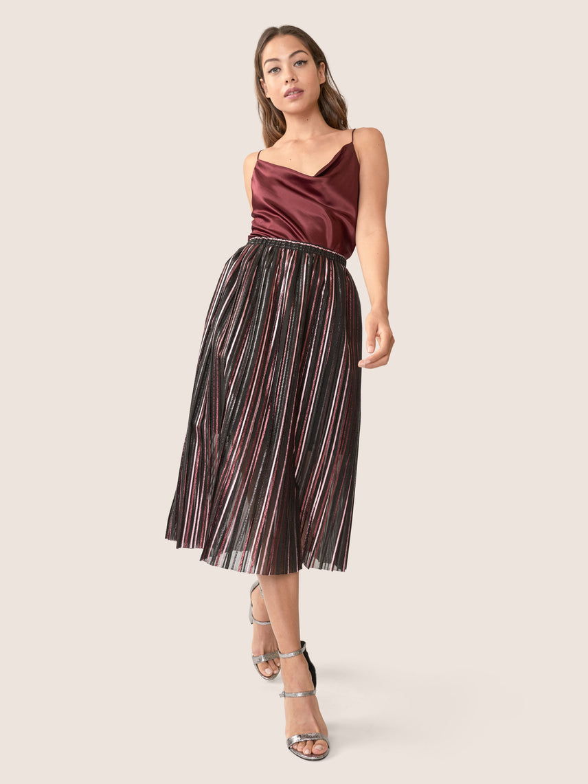 front view of multi colored metallic striped pleated organza skirt
