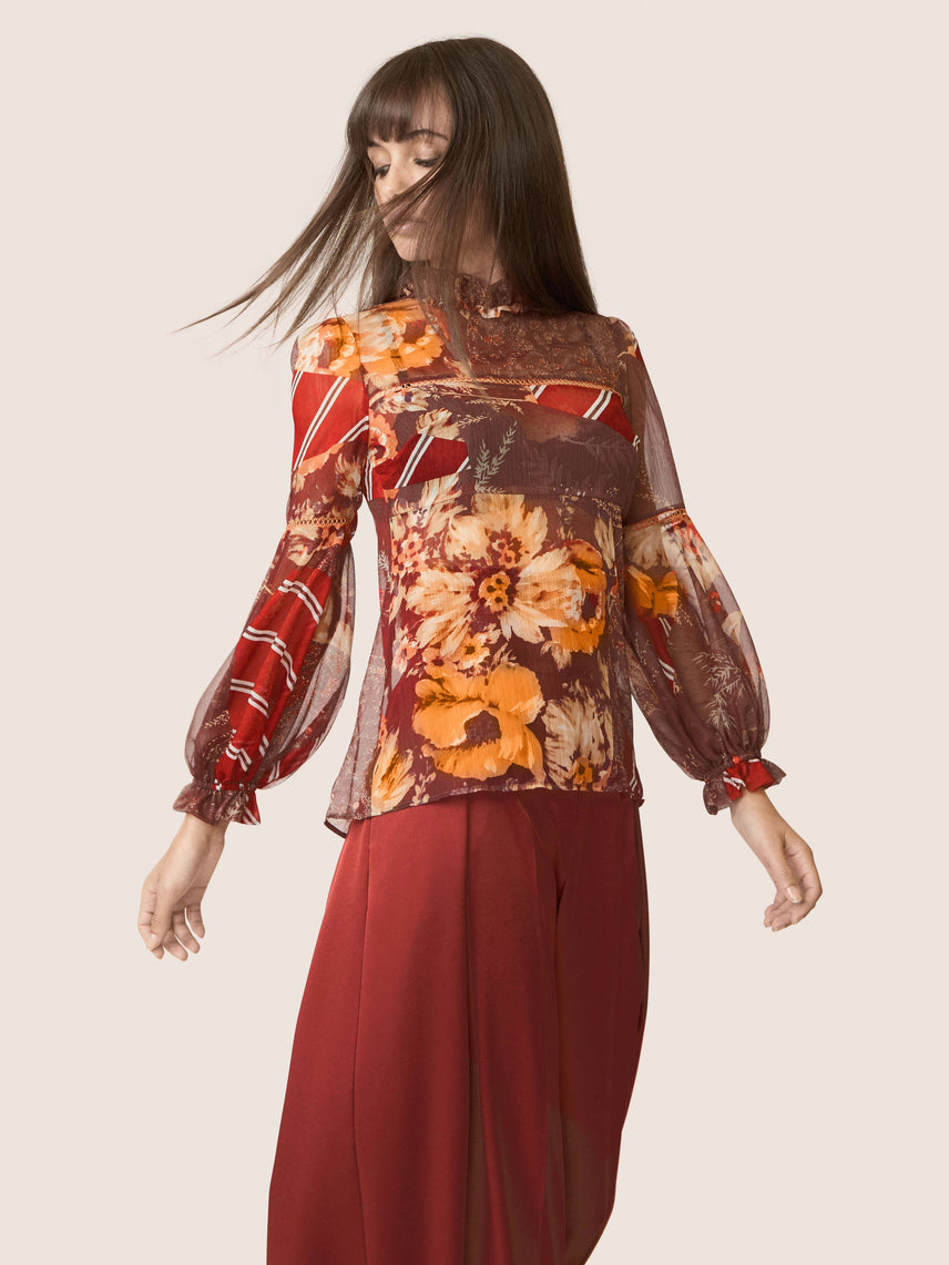 Mixed floral printed ruffle mock neck blouse with billow sleeves