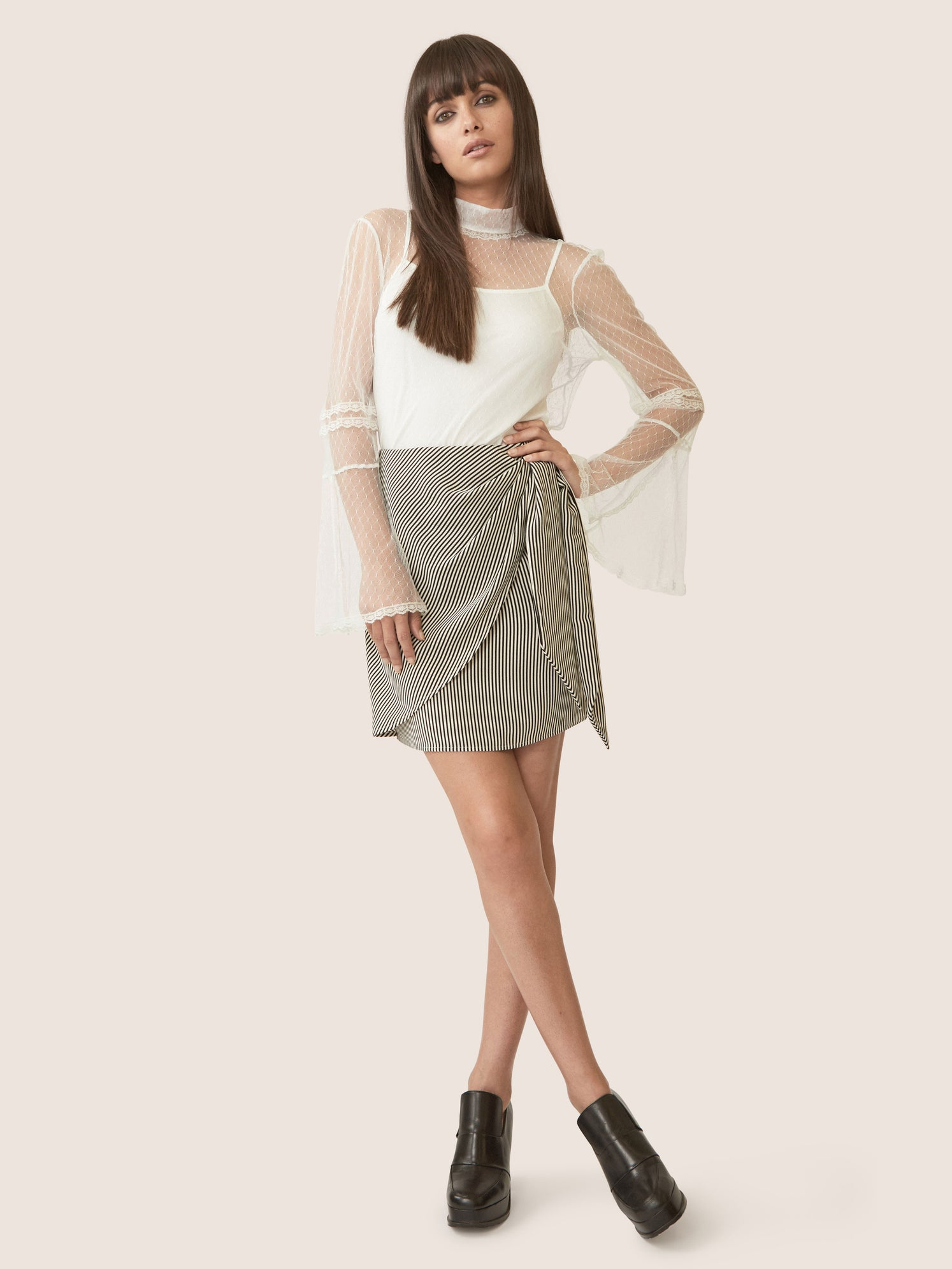Striped matte satin side knot skirt with drape