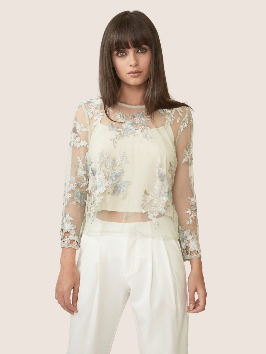 Seafoam embroidered lace sheer top with three quarter sleeves.
