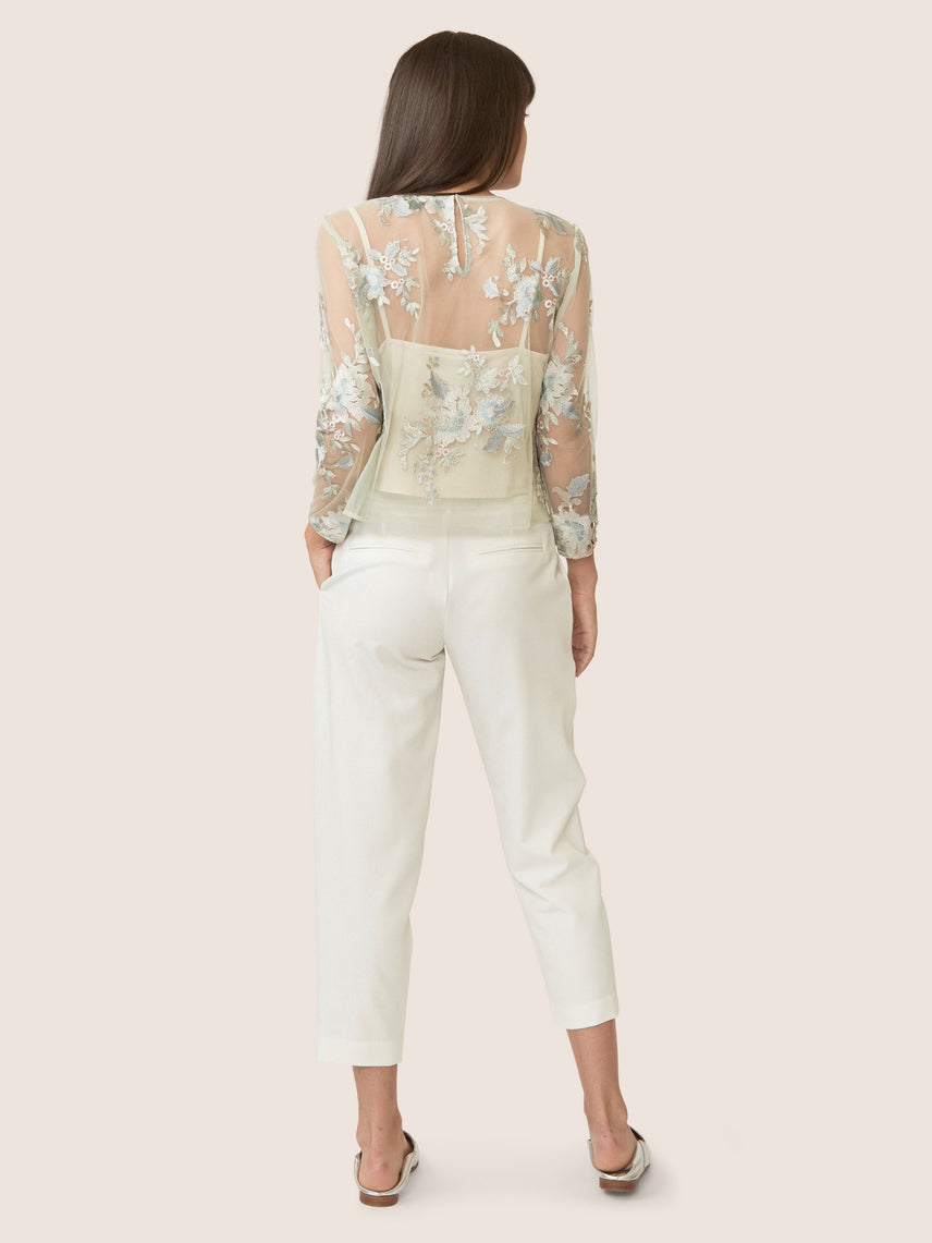 Back view of seafoam embroidered lace sheer top.