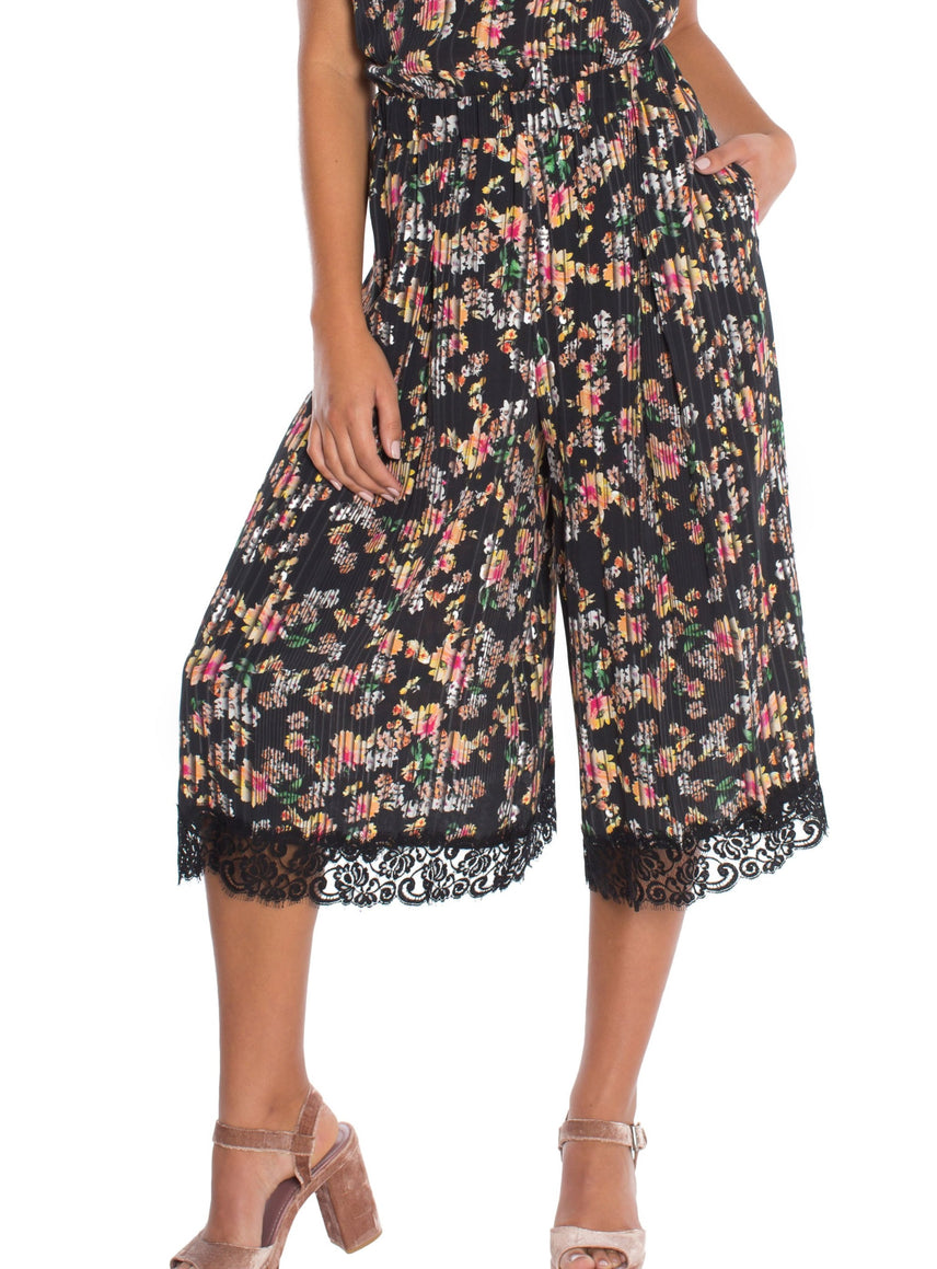 Flora Elastic Waist Pleated Cropped Culotte