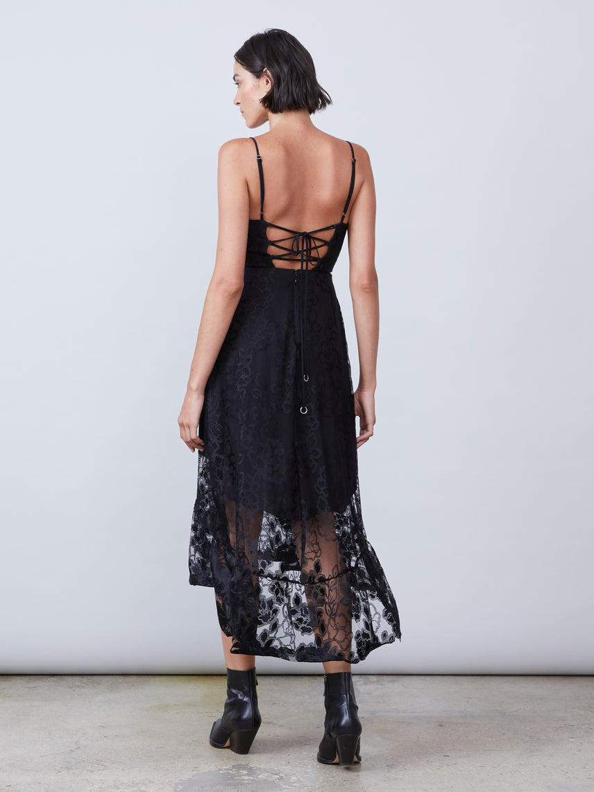 Square neck lace up semi sheer lace midi dress Alternate