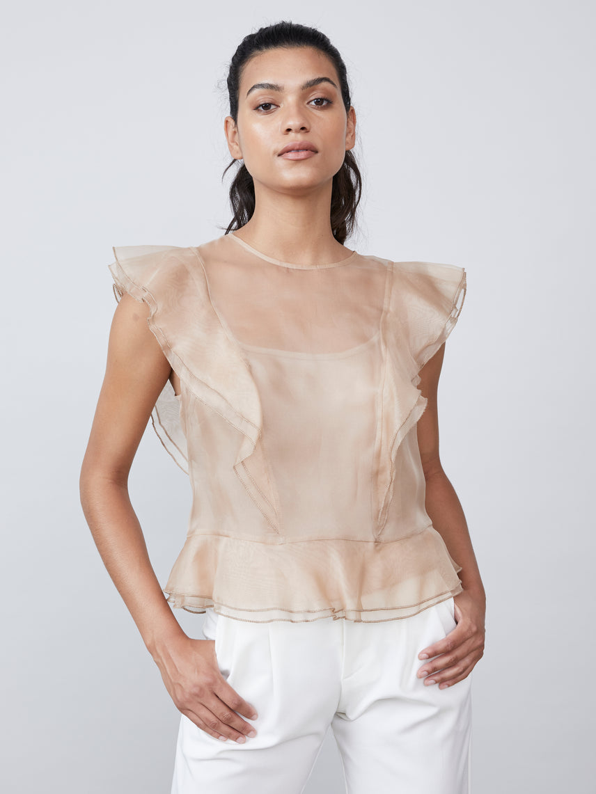 Sheer silk organza ruffled edge button closure tailored waist blouse