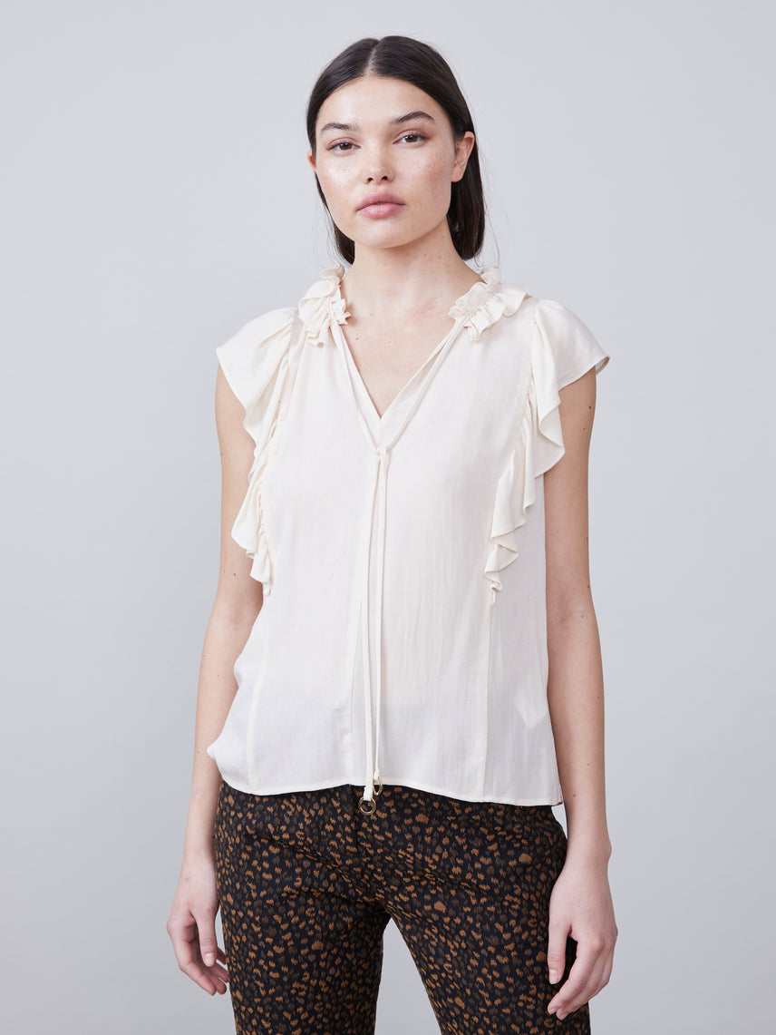 Angel Ruffled Blouse with front tie