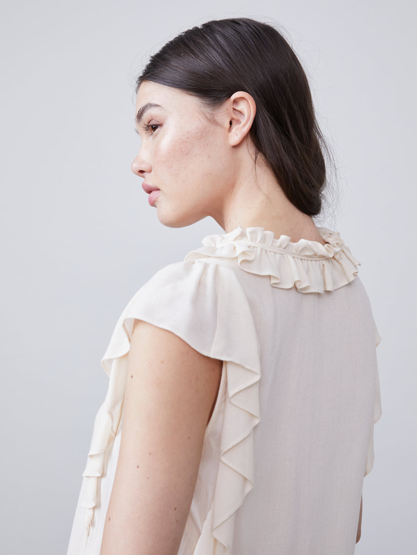 Close up back view of Angel Ruffled Blouse with front tie