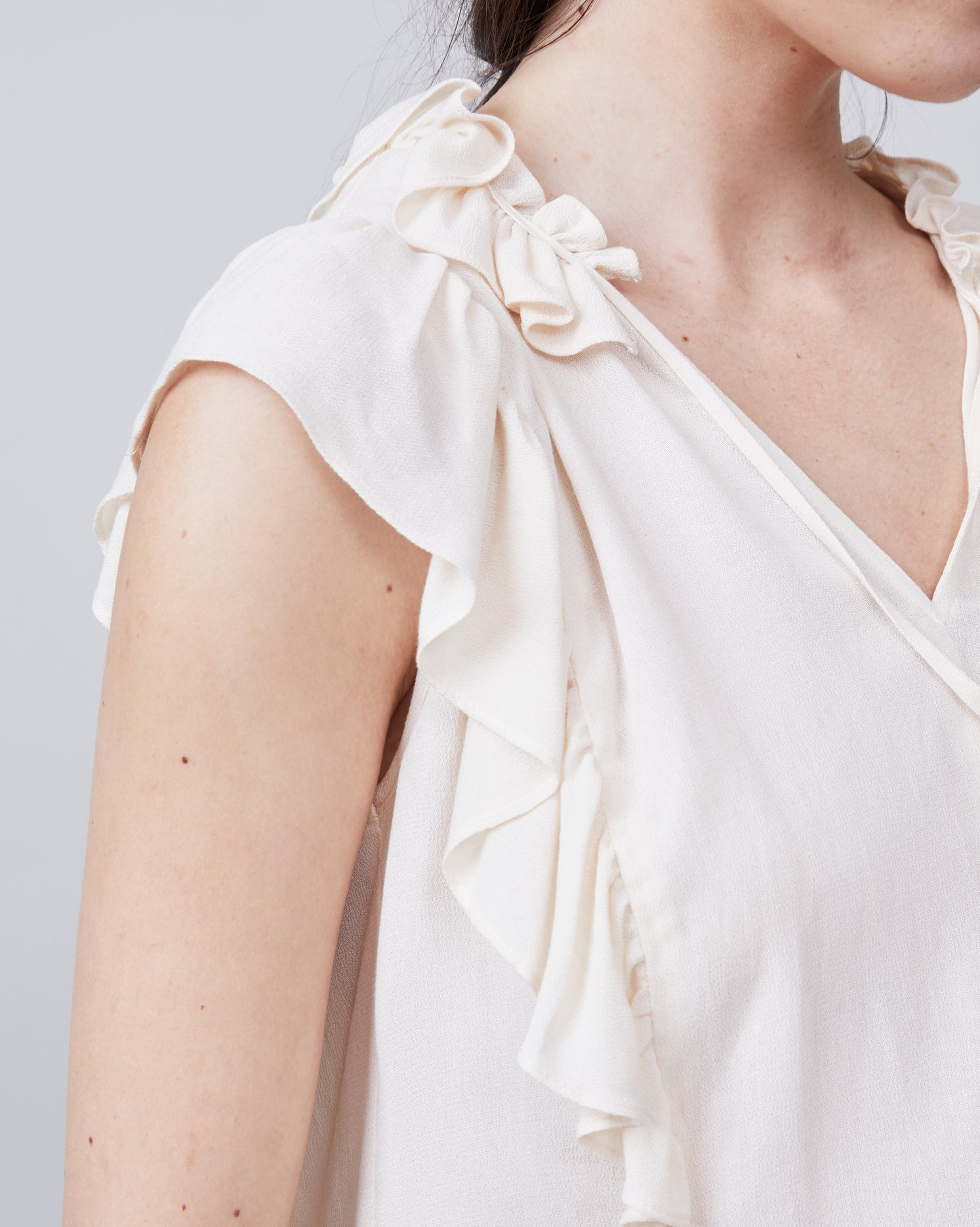Angel Ruffled Front Tie Blouse
