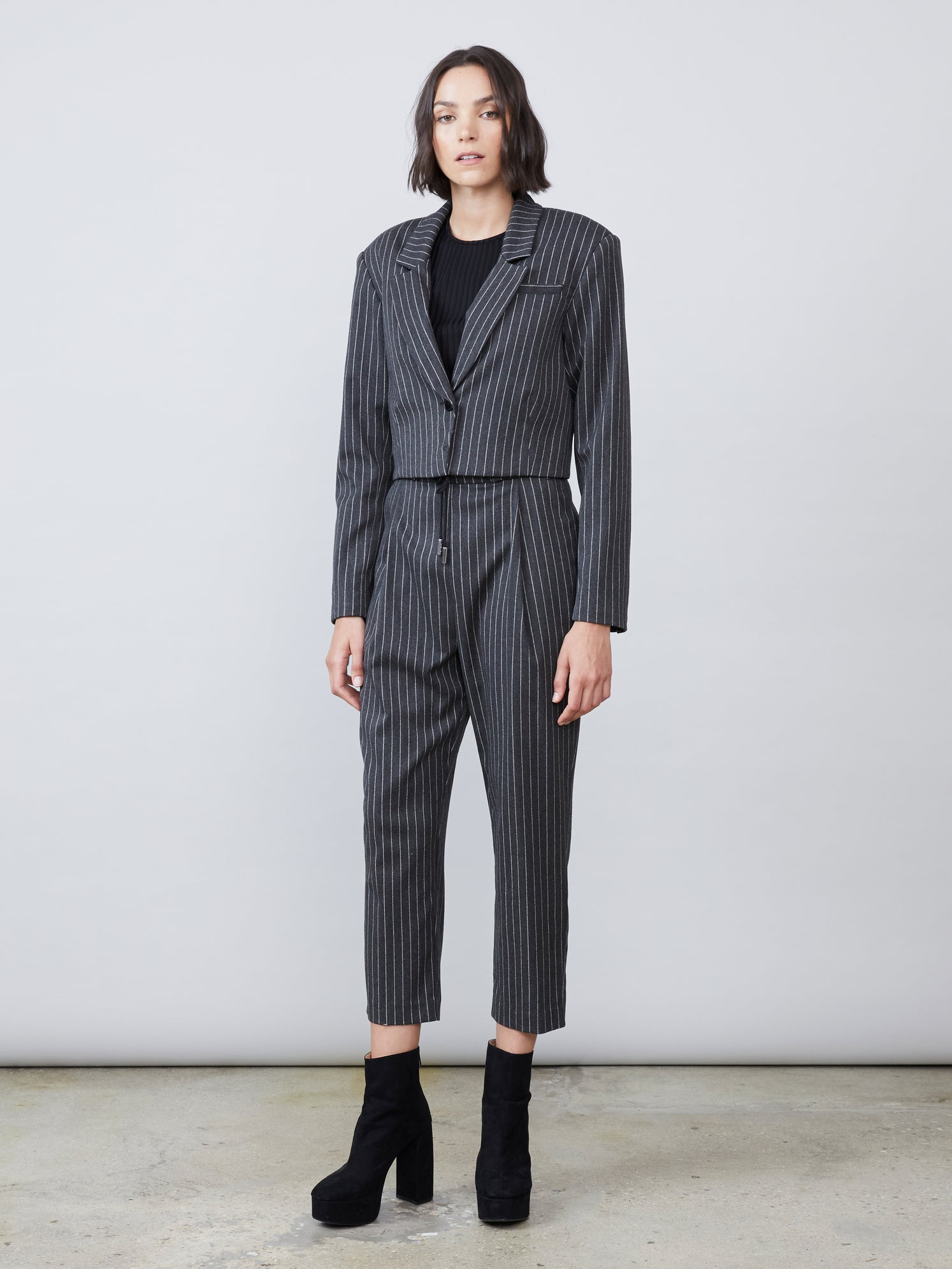 Pinstripe cropped square shoulder notched lapel button cuff blazer