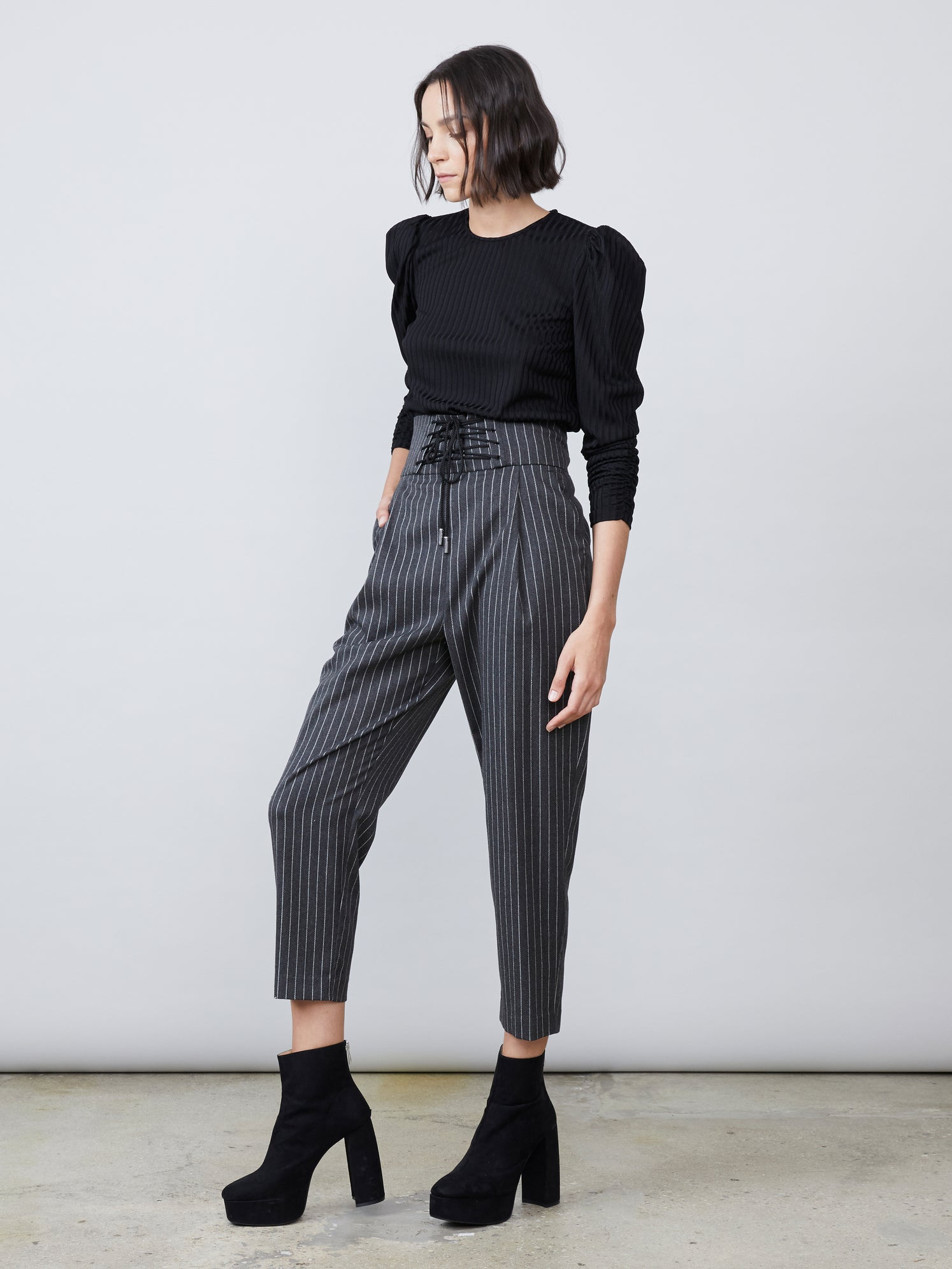 Pinstripe cropped length corset laced waist front pleat pants