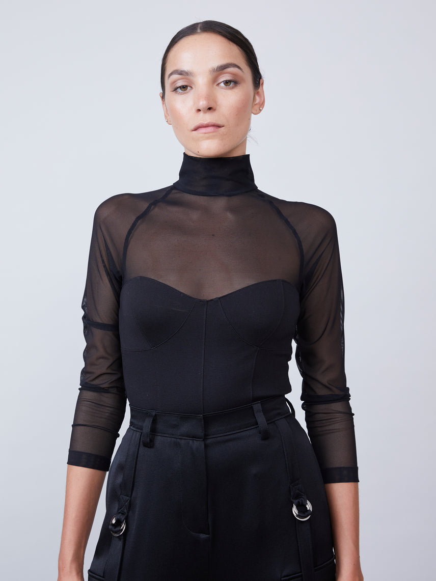 Top sheer mesh bodysuit with solid bustier bodice and mock turtleneck