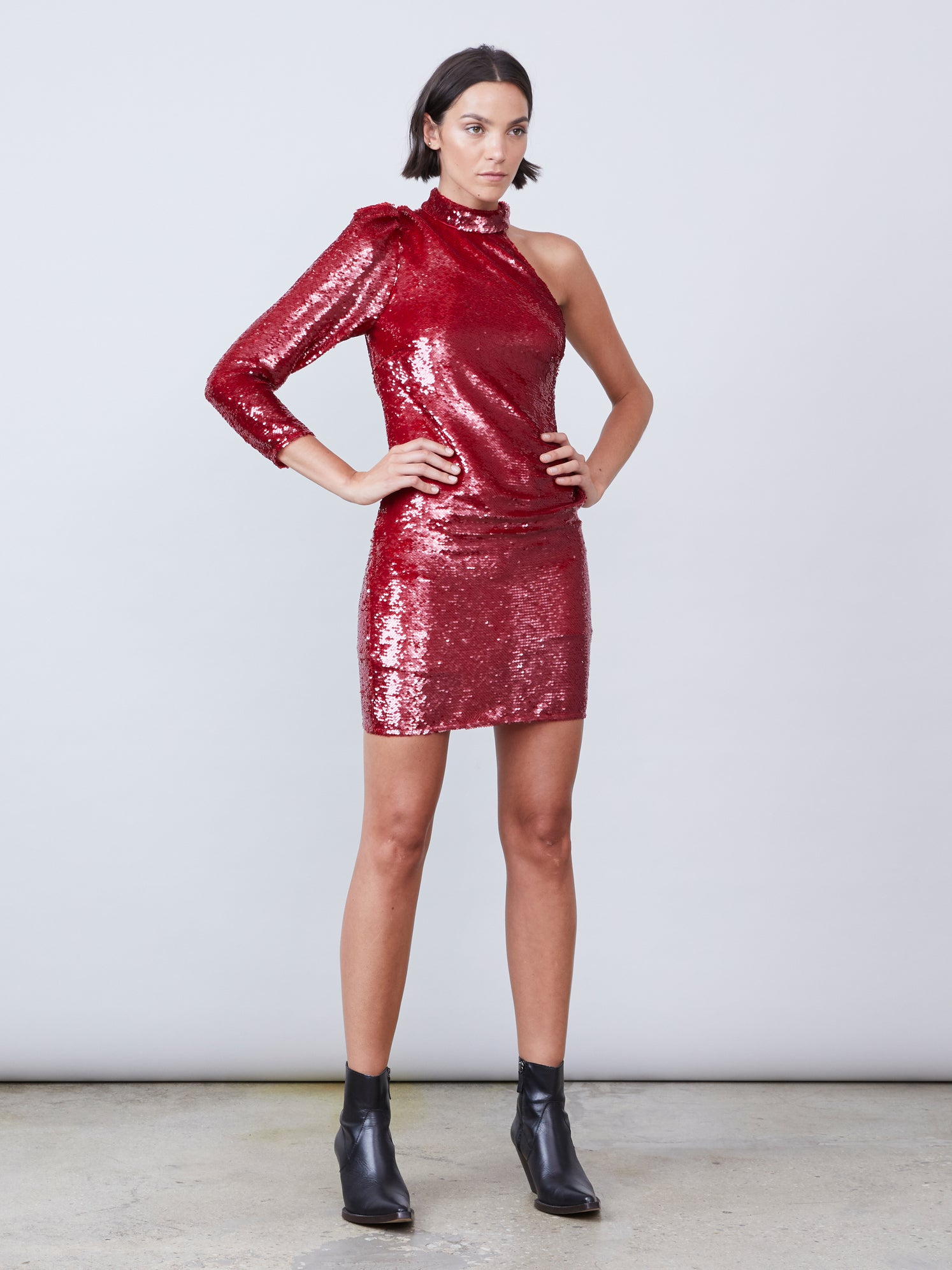 Red sequin one shoulder mini dress with mock neckline