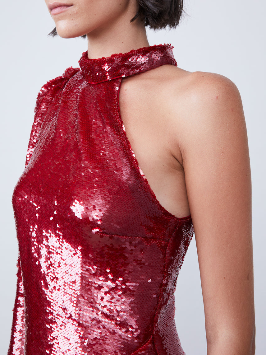Red sequin one shoulder mini dress with mock neckline Alternate