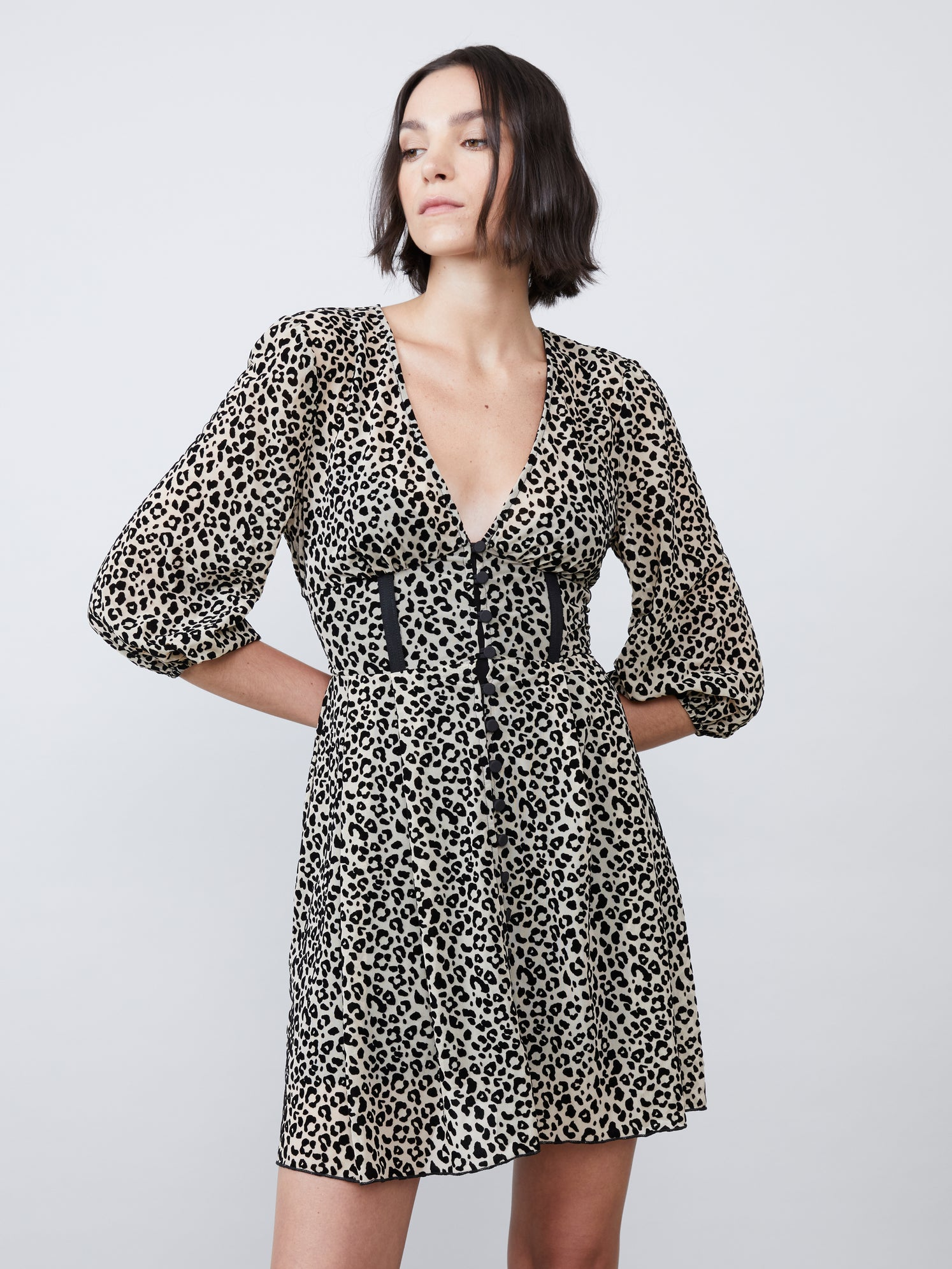 Flocked leopard mesh v neck button front 3/4 sleeve mini dress Alternate