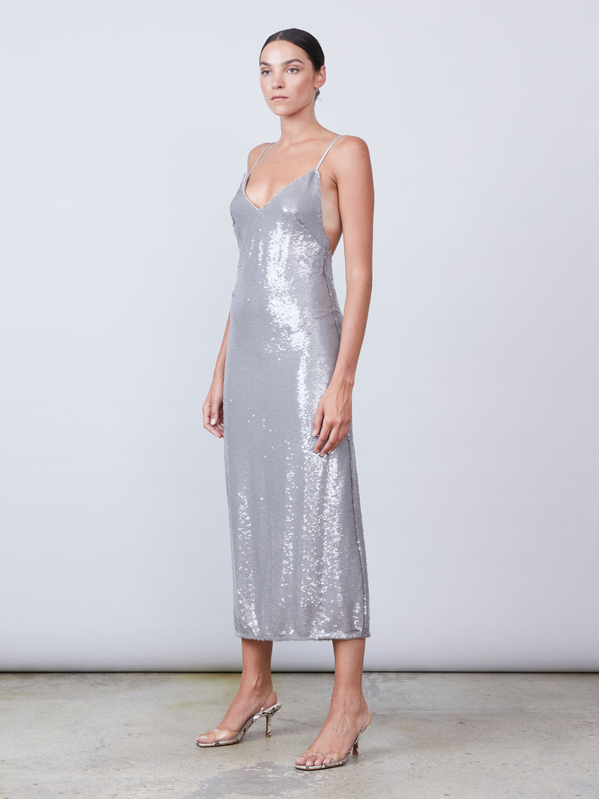 Ankle length V-neck sequin slip dress dress with low back and spaghetti straps