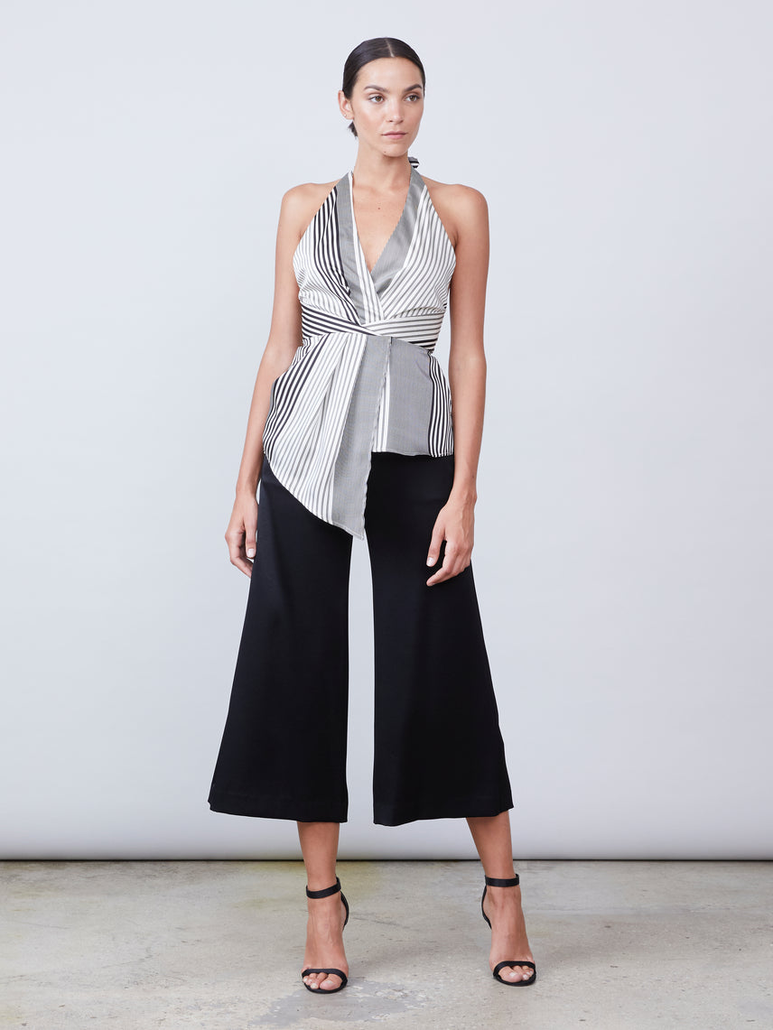 Tie halter neck top with exposed back