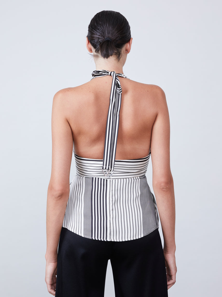 Tie halter neck top with exposed back Alternate