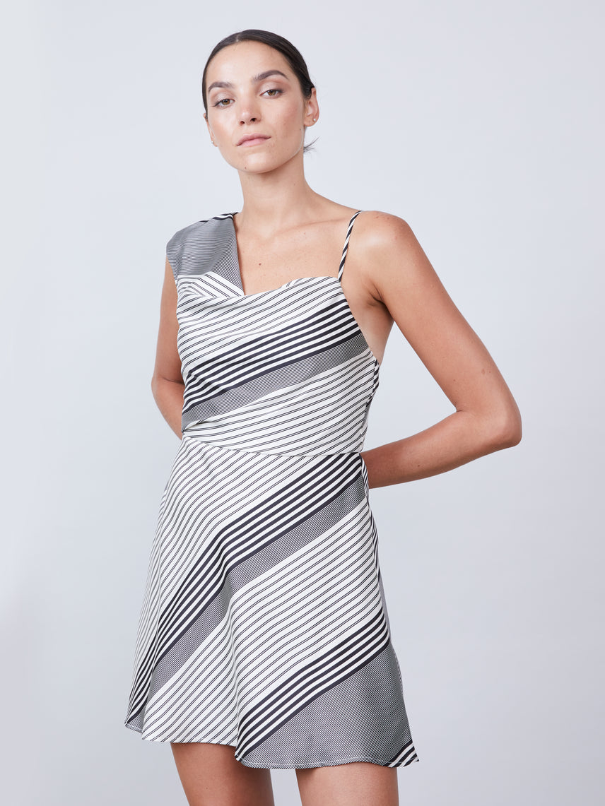 One shoulder mini dress with cowl neckline and foldover waist