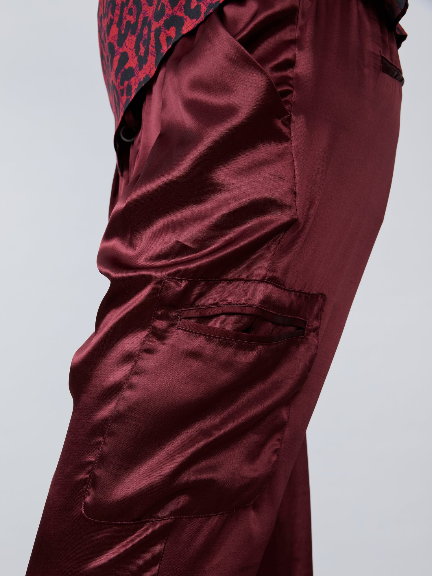 Burgundy satin cargo pant Alternate