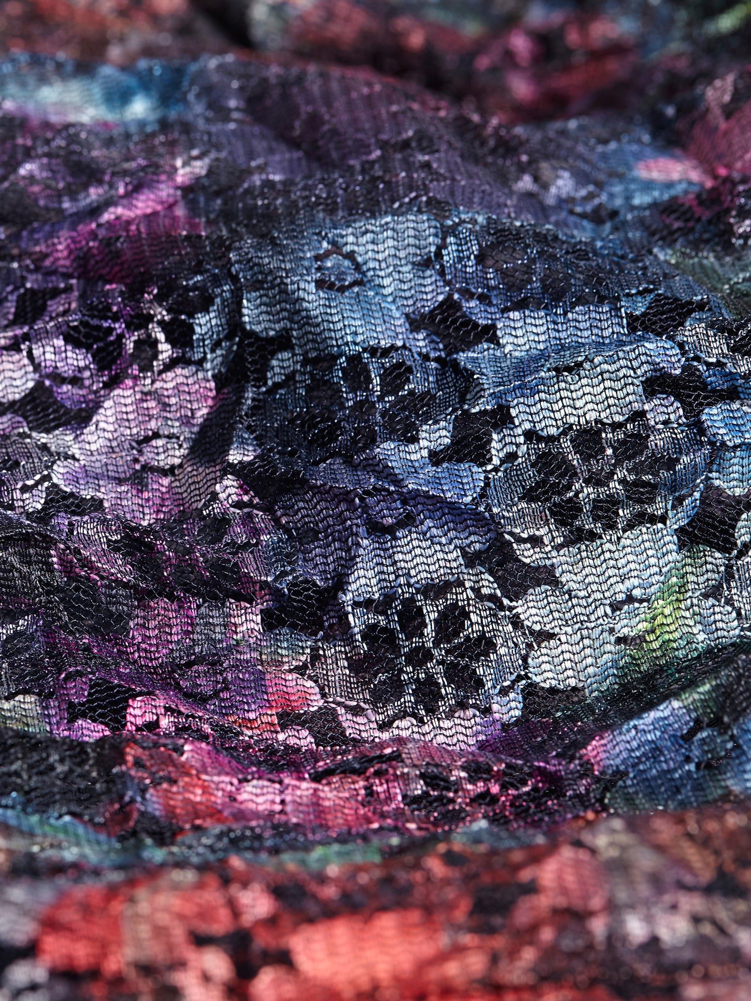 Tie-dye printed lace fabric
