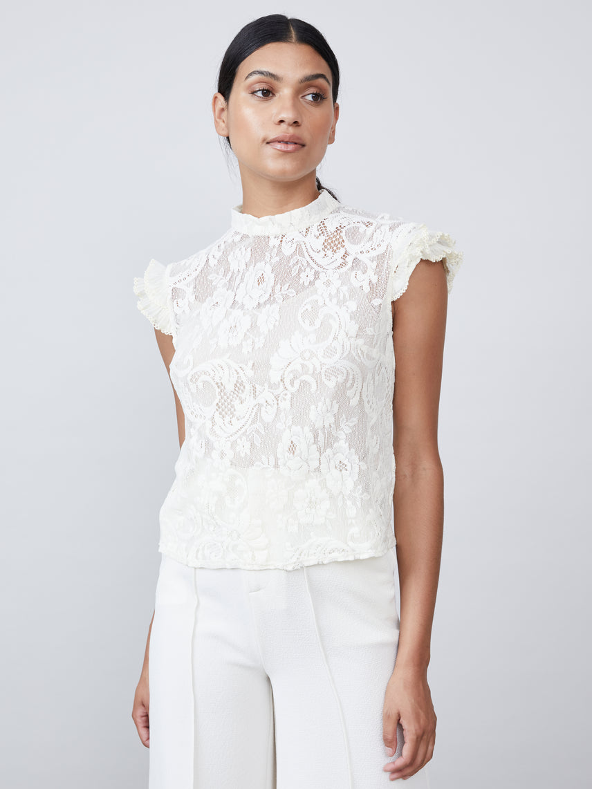 Victorian lace top with mock neck and ruffled cap sleeves