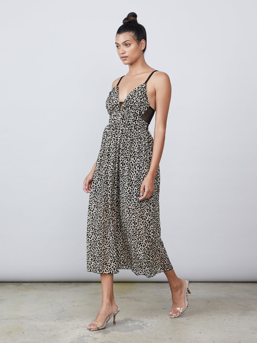 Flocked leopard mesh deep v sheer back maxi dress