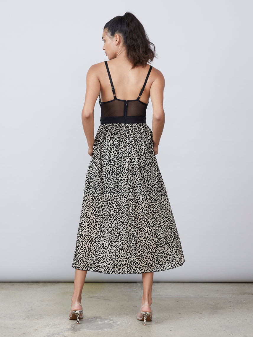 Flocked leopard mesh deep v sheer back maxi dress Alternate
