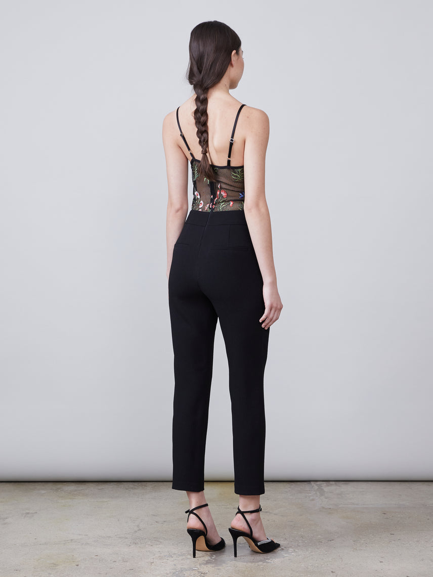 Floral embroidered mesh bustier jumpsuit with pockets