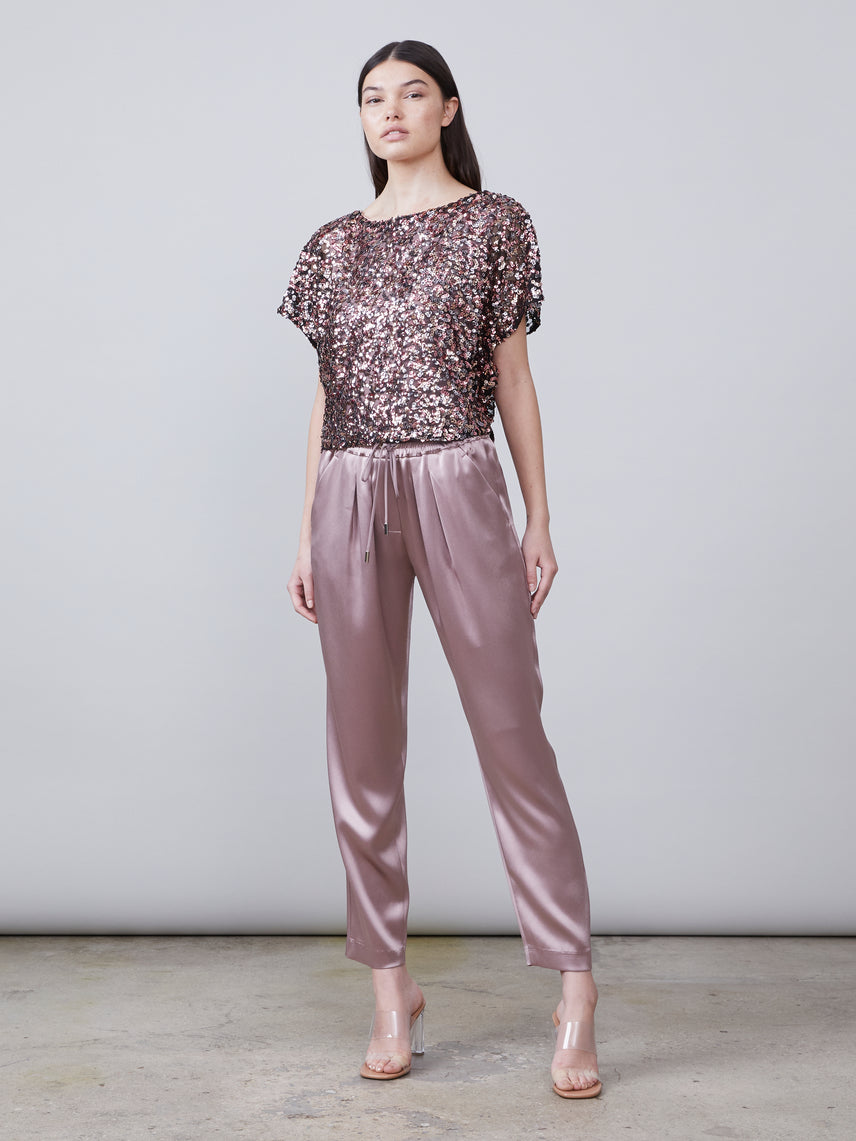 Full body front view of Anouk Dolman Sleeve Sequin Top