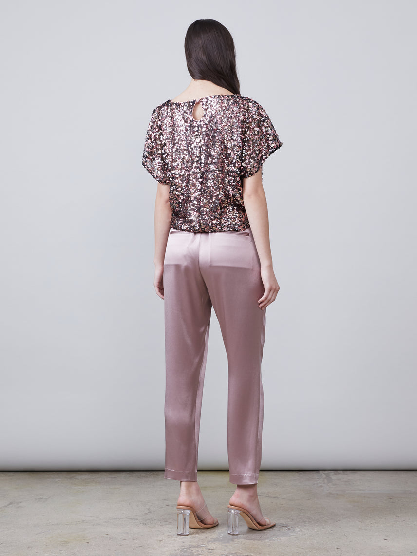 Back view of Kenley Sustainable Satin Pant in mink paired with Anouk Dolman Sleeve Top Alternate