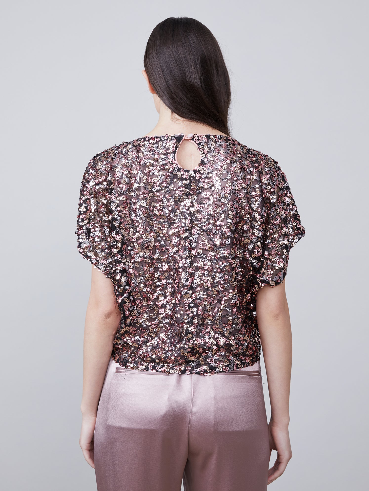Back view of Anouk Dolman Sleeve Sequin Top
