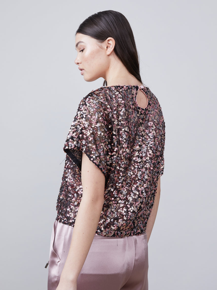 3/4 view of Anouk Dolman Sleeve Sequin Top Alternate