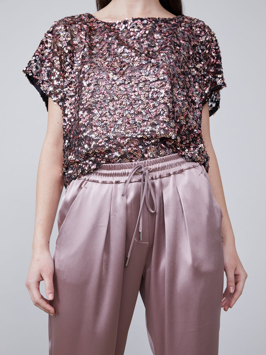 Close up front view of Anouk Dolman Sleeve Sequin Top