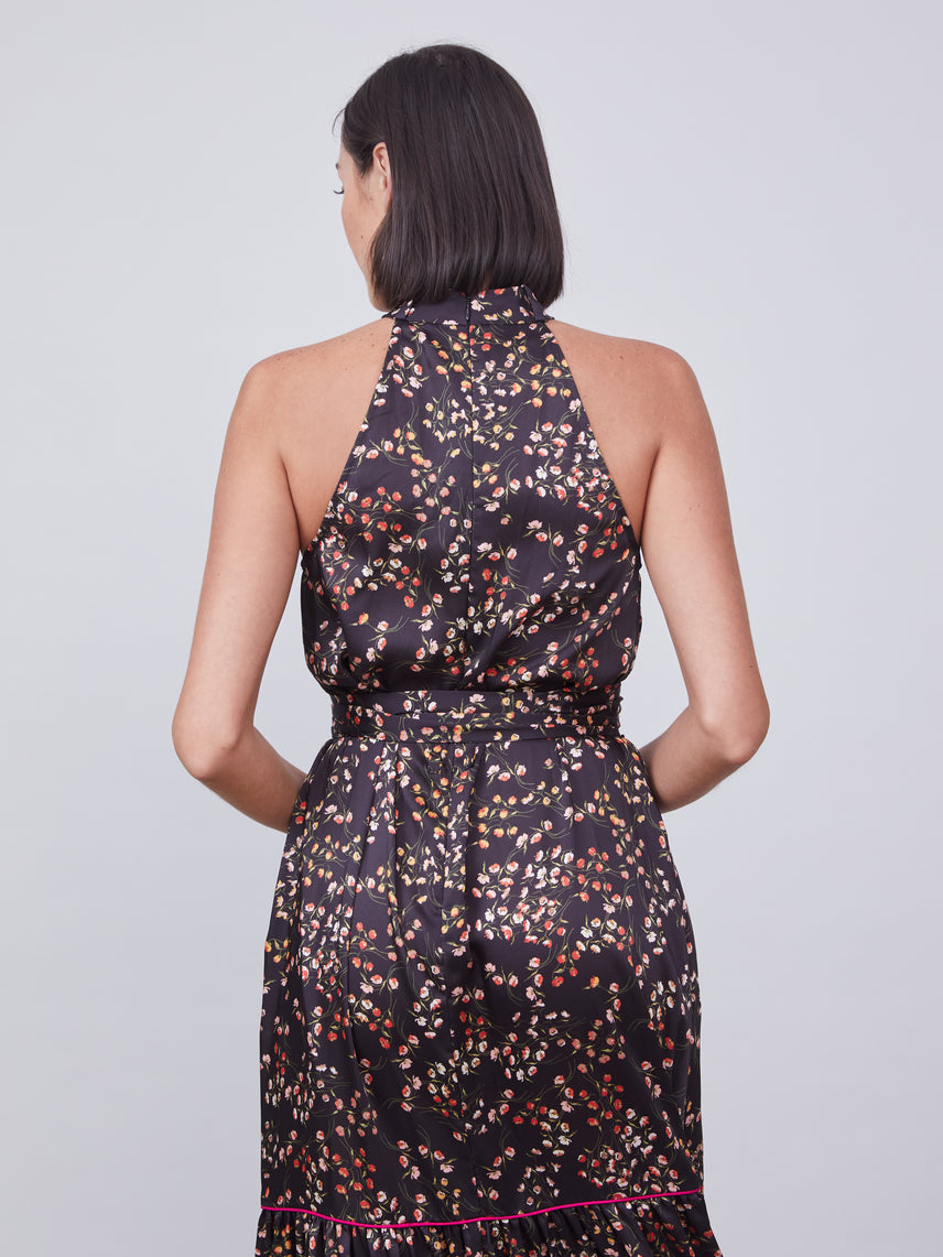Floral printed halter dress with waist tie