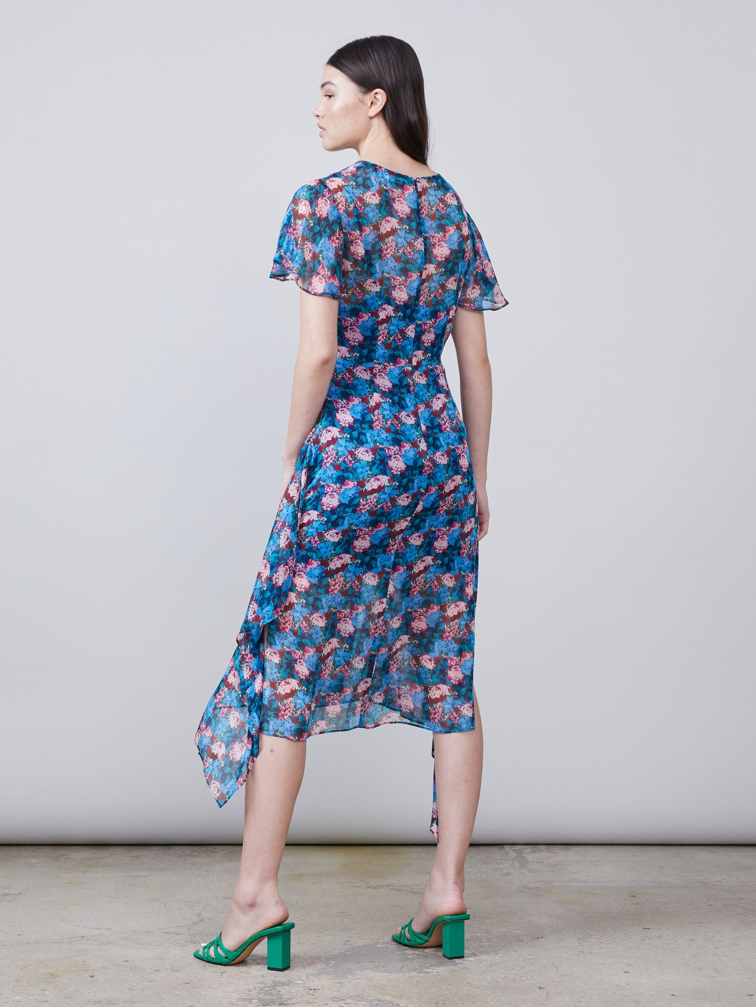 Ruffled floral print hanky hem dress