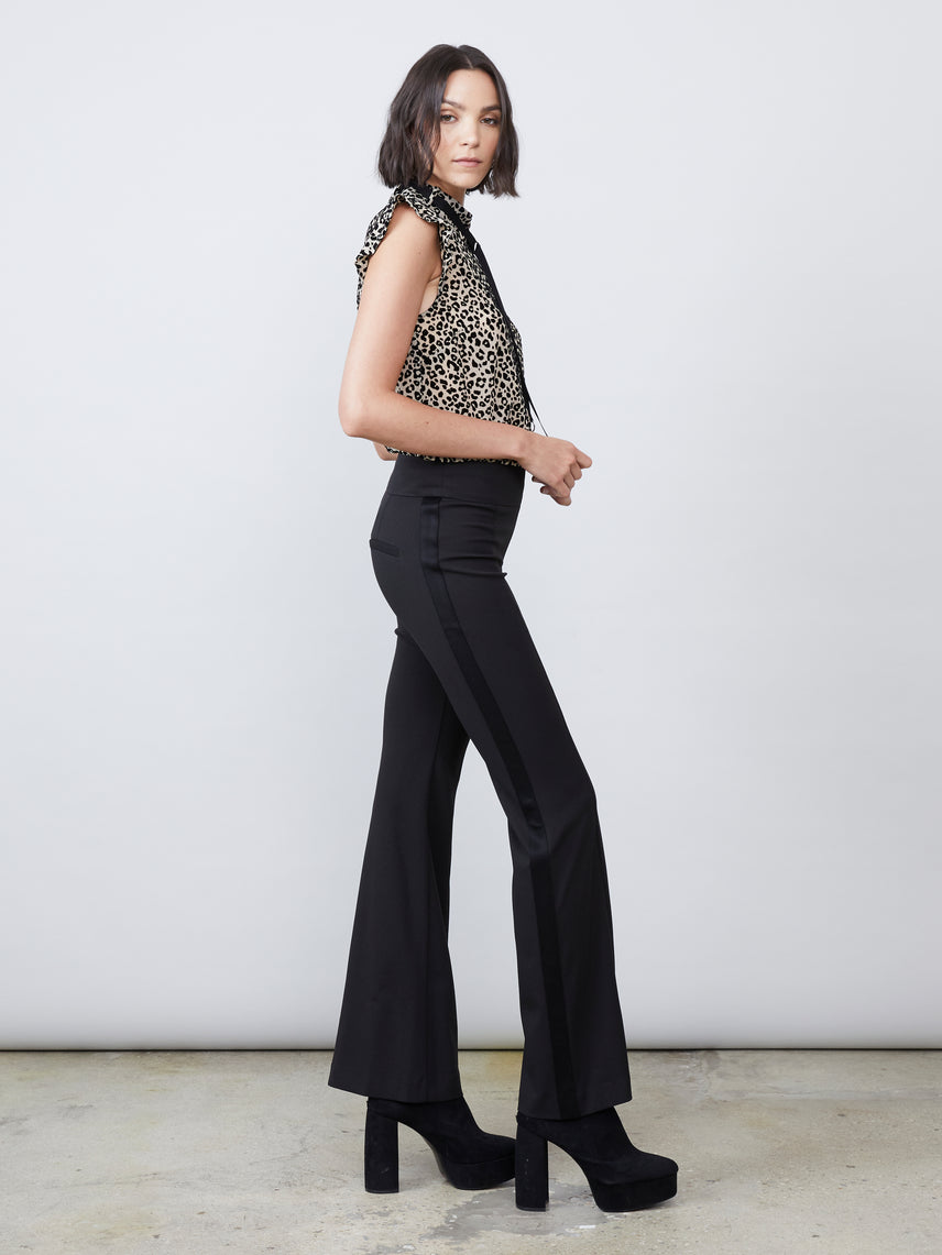 Scuba crepe knit slim leg flared bottom satin side stripe pant