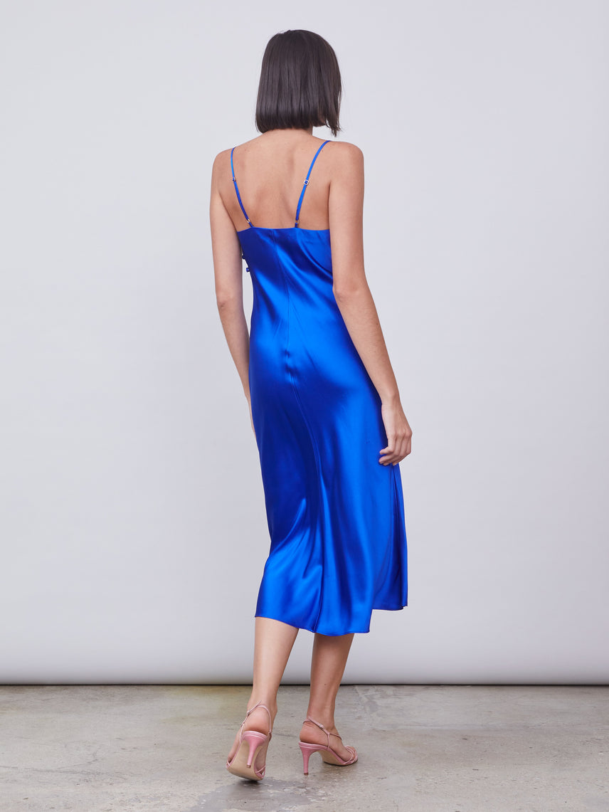 Silk slip dress in cobalt