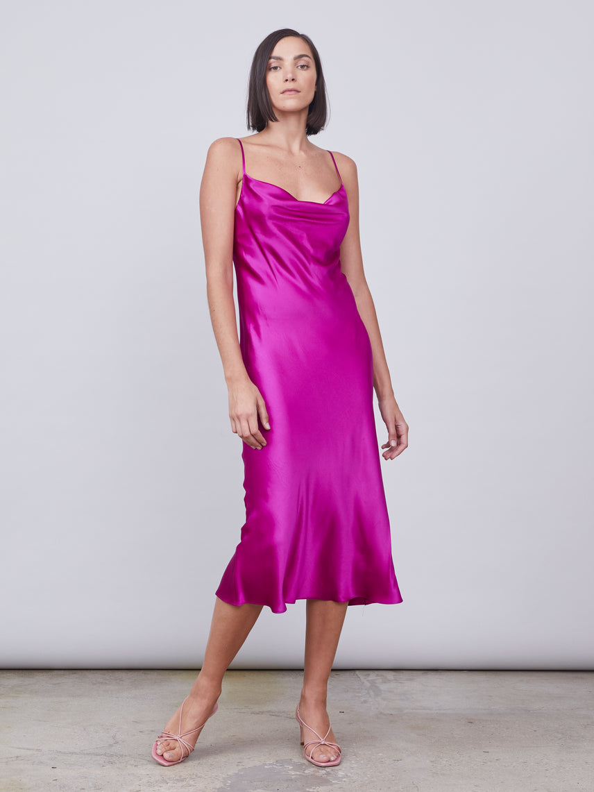 Silk slip dress in magenta