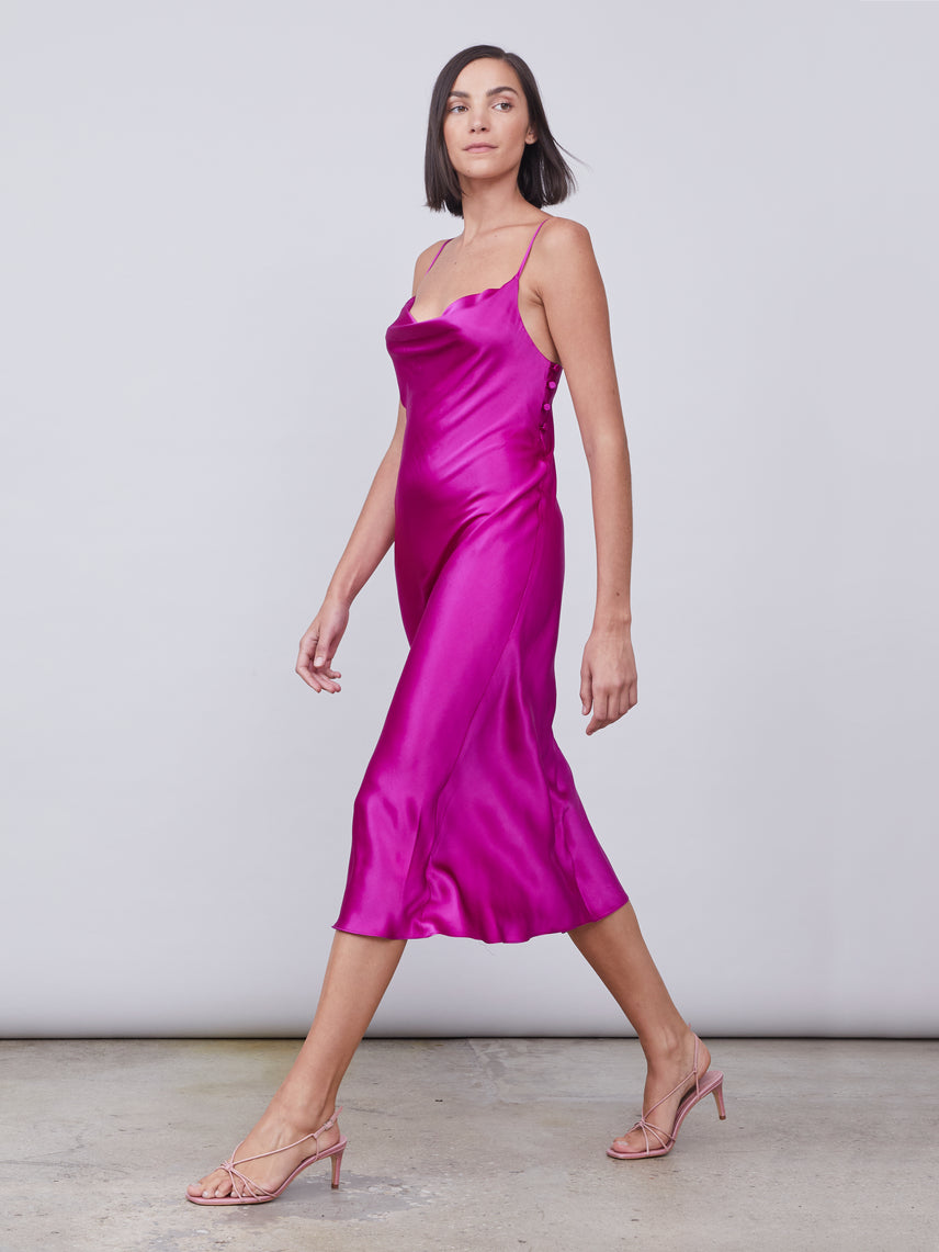 Silk slip dress in magenta Alternate