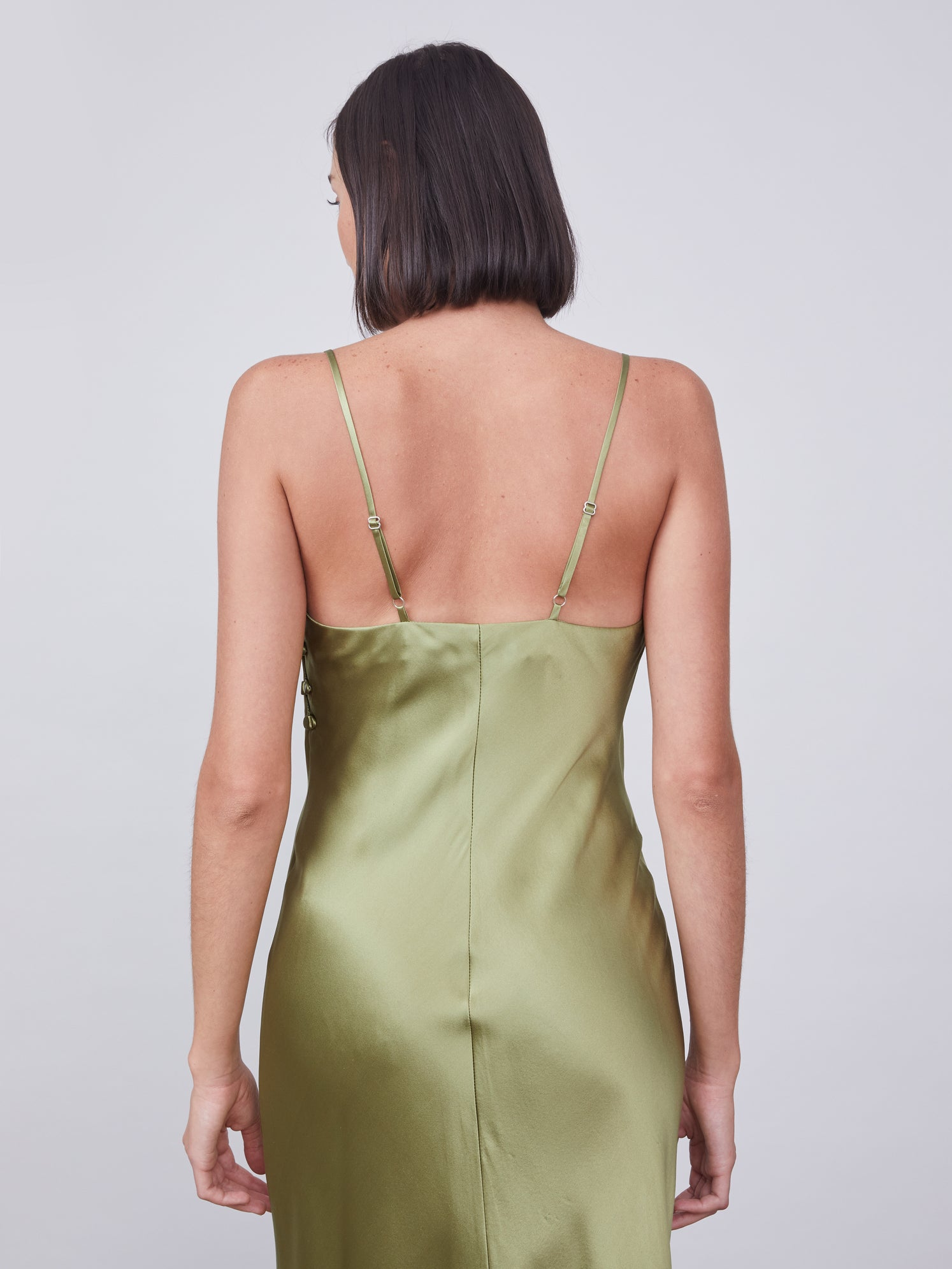 Silk slip dress in soft olive