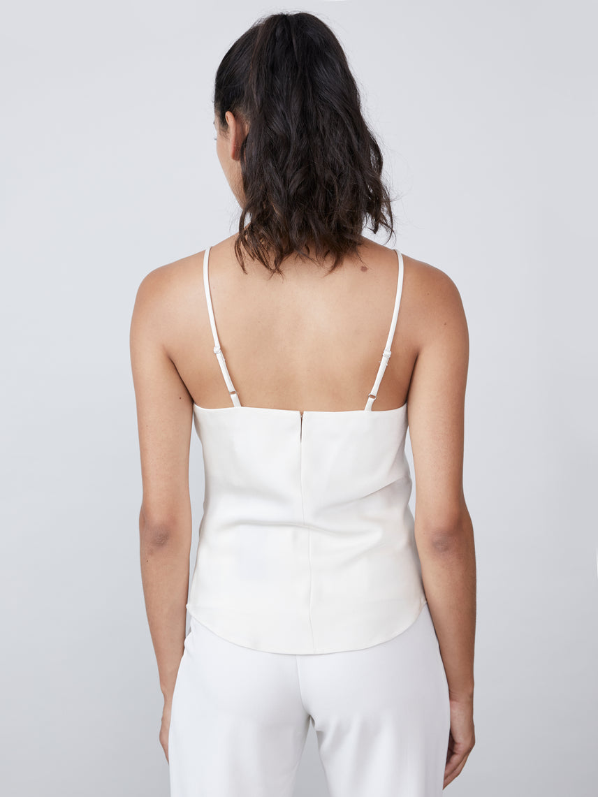 Squareneck cami in crepe satin with exposed back