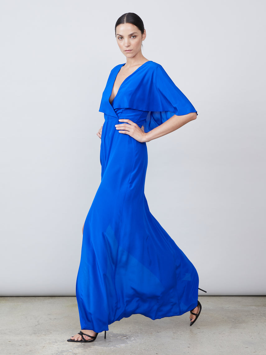 Layered capelet overlay maxi dress with crosstie back