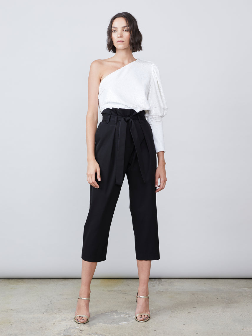 Ultra-high-rise cropped paperbag pants with tie belt