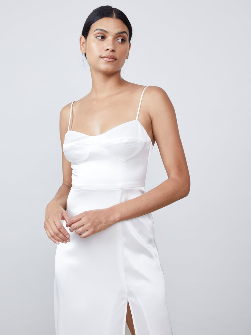 Satin bustier midi dress with knee-high slit Alternate