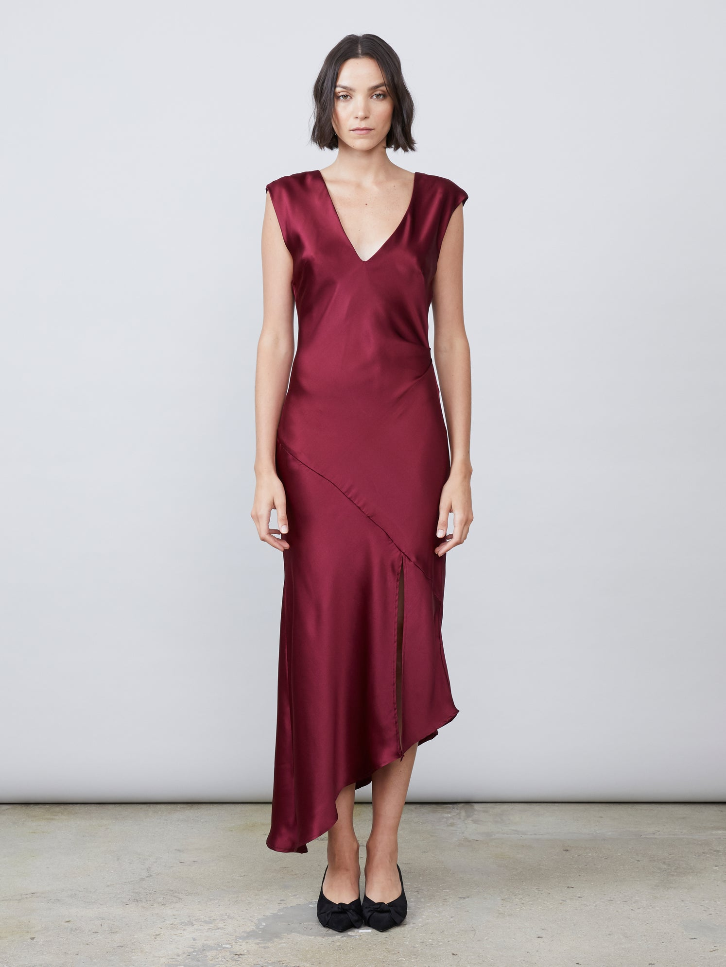 Silk charmeuse draped v neck deep v back slip dress
