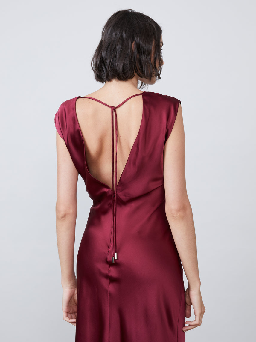 Silk charmeuse draped v neck deep v back slip dress Alternate