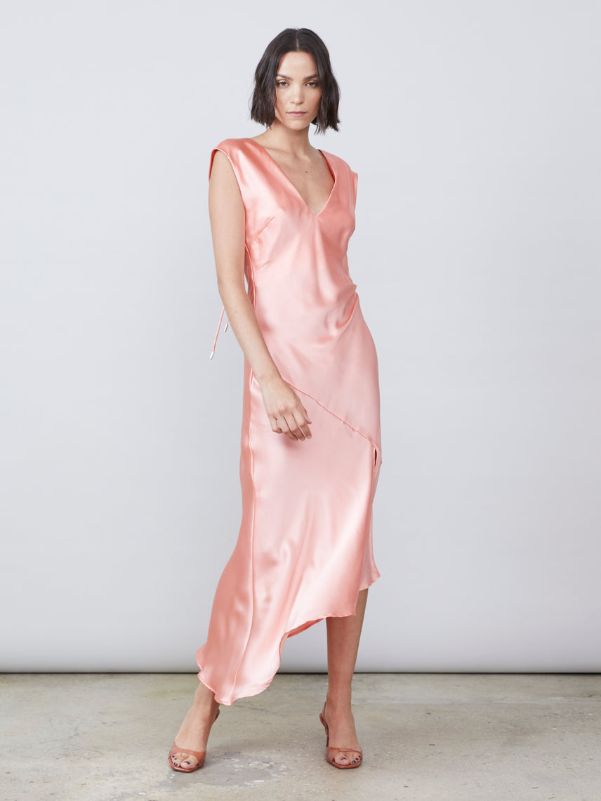 Coral silk charmeuse deep v back neck tie draped slip dress